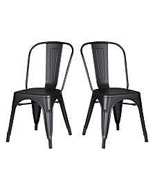 AC Pacific Modern Metal Kitchen Dining Chair, Set of 2