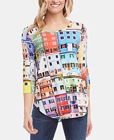 3/4-Sleeve Shirttail Top
