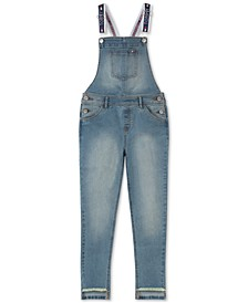 Big Girls Step-Hem Stretch-Denim Overalls