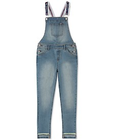 Tommy Hilfiger Big Girls Step-Hem Stretch-Denim Overalls