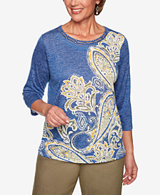 Alfred Dunner Lake Tahoe Printed Ladder-Trim Top