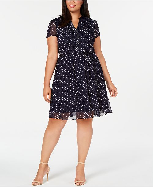 MSK Plus Size Pintucked A-Line Dress