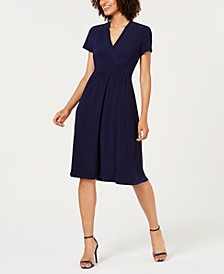 Faux-Wrap Shift Dress