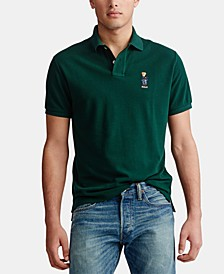 Men's Basic Slim Fit Mesh Bear Polo Shirt