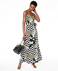 Bar III Mixed-Print Faux-Wrap Dress, Created for Macy's