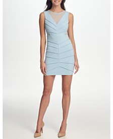 GUESS Scuba Crepe Illusion-Neck Sheath Dress with Mesh Cutouts