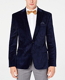 Men's Slim-Fit Blue Paisley Velvet Sport Coat, Created for Macy's