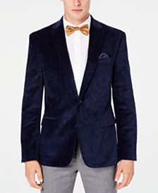 Bar III Men's Slim-Fit Blue Paisley Velvet Sport Coat, Created for Macy's