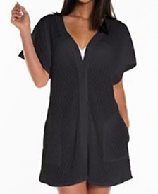 Jordan Taylor Braided Chevron Plus Size Button Front Cover Up With Pockets