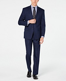 by Andrew Marc Men's Modern-Fit Navy Plaid Suit