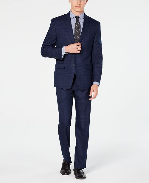 Marc New York by Andrew Marc Men's Modern-Fit Navy Plaid Suit