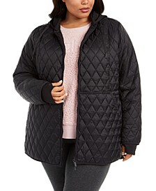 Plus Size Quilted Hooded Jacket