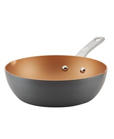 "Ayesha Home Collection 9.75"" Hard-Anodized Aluminum Nonstick Chef Pan"