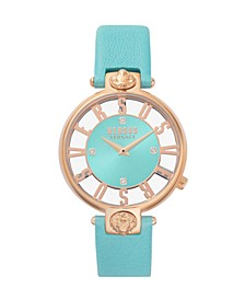 Versus Women's Teal Leather Strap Watch 16mm