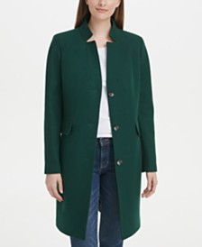 DKNY Single-Breasted Stand-Collar Coat