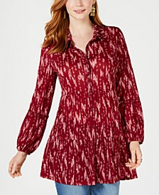 Petite Printed Ruffled Tunic, Created for Macy's