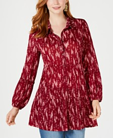 Style & Co Printed Tiered Tunic Top, Created for Macy's