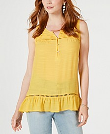 Ruffle-Hem Open-Trim Top, Created for Macy's