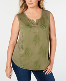 Style & Co Plus Size Embroidered Top, Created for Macy's