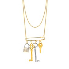 Women's Lock and Keys Safety Pin Chain Necklace