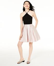 Blondie Nites Juniors' Y-Neck Fit & Flare Dress