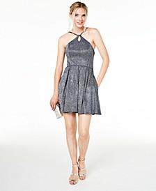 Juniors' Keyhole Metallic-Glitter Dress