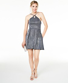 Blondie Nites Juniors' Keyhole Metallic-Glitter Dress