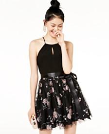Blondie Nites Juniors' Glitter Mesh Dress