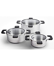 6-Piece Stainless Steel Inductive Pot Set with Hands-Free Glass Straining Lids
