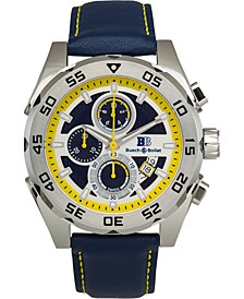 Torrent Men's Chronograph Watch Blue Leather Strap, Silver and Blue Dial, 44mm