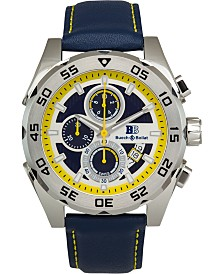 Buech & Boilat Torrent Men's Chronograph Watch Blue Leather Strap, Silver and Blue Dial, 44mm