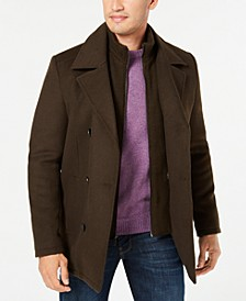 Men's Big & Tall Double Breasted Pea Coat with Bib