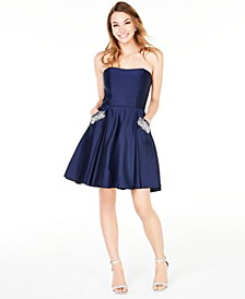 Juniors' Strapless Pocket Dress