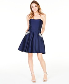 Blondie Nites Juniors' Strapless Pocket Dress