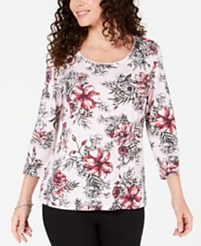 Karen Scott Petite Printed Scoop-Neck Top, Created for Macy's