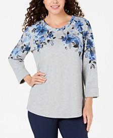 Karen Scott Floral-Graphic Sweatshirt, Created for Macy's