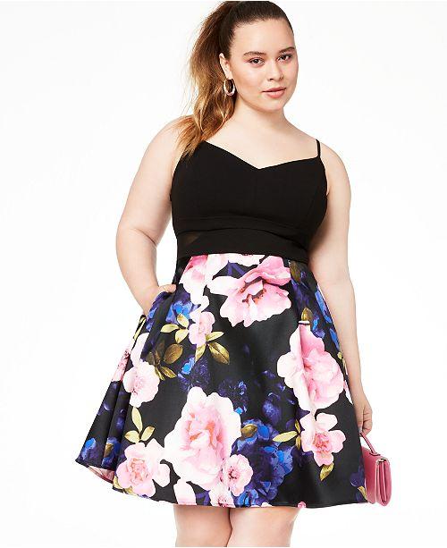 B Darlin Trendy Plus Size Mesh-Inset Fit & Flare Dress, Create…