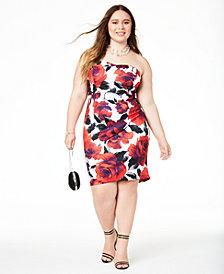 B Darlin Trendy Plus Size Strapless Bodycon Dress, Created for Macy's