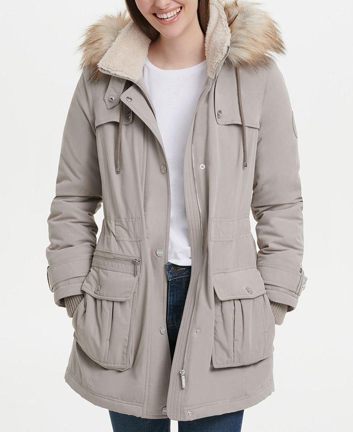 DKNY - Faux-Fur-Trim Hooded Anorak