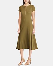 Petite Waffle-Knit Cotton Henley Dress