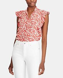 Lauren Ralph Lauren Petite Floral-Print Flutter-Trim Crepe Top