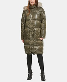 Oversized Faux-Fur-Trim Puffer Coat