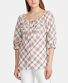Lauren Ralph Lauren Petite Plaid-Print Tie-Neck Top