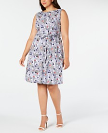 Anne Klein Plus Size Cotton Printed Belted Dress