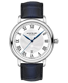 Men's Swiss Automatic Star Legacy Blue Alligator Leather Strap Watch 42mm