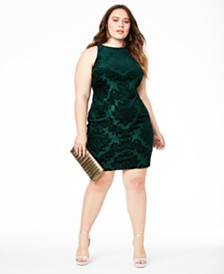 B Darlin Trendy Plus Size Velvet Burnout Bodycon Dress, Created for Macy's