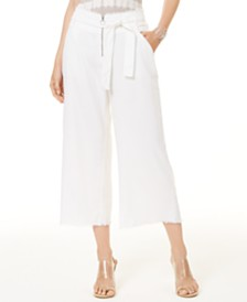I.N.C. Frayed Zip-Front Culottes, Created for Macy's