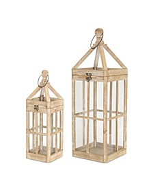 Melrose International Lantern Set of 2 Wood Glass