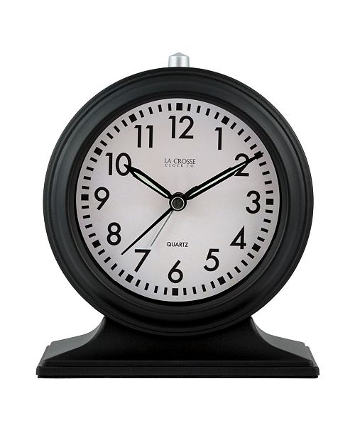 La Crosse Technology La Crosse Clock Silent Sweep Black Mantel Alarm Clock