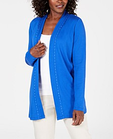 Petite Cotton Studded Cardigan, Created for Macy's